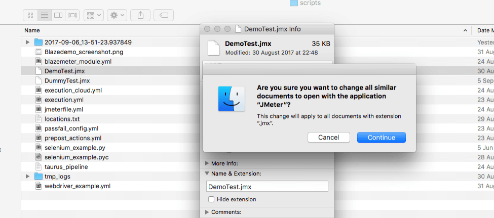jmx files for jmeter on a mac, opening, clicking