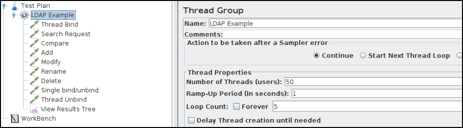 ldap testing on jmeter test scenario