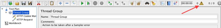 configuring the JMeter logger panel, JMeter logging