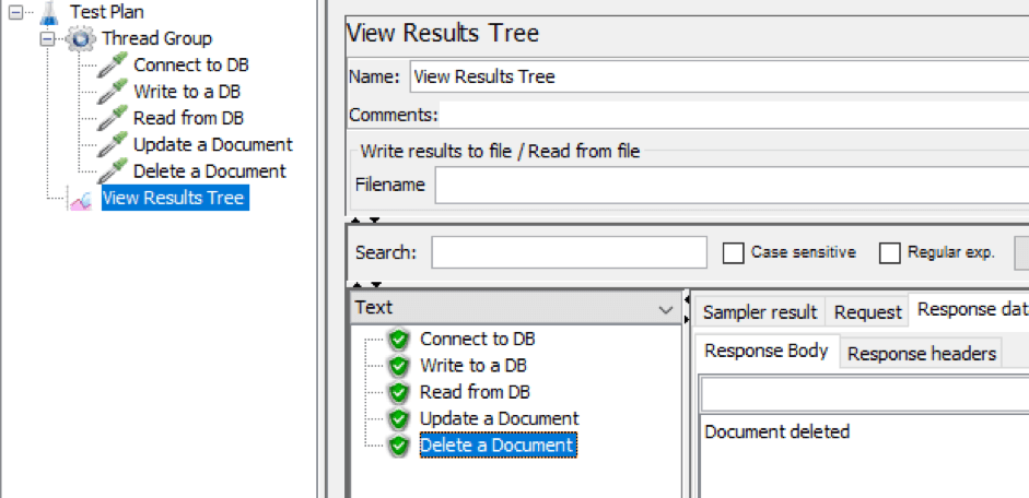 deleting documents from databses with jmeter
