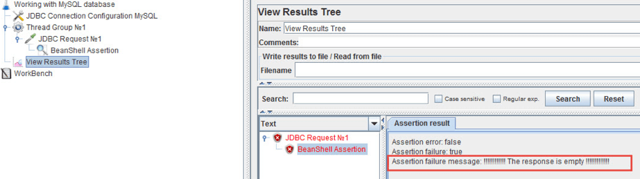 connect your mysql db to jmeter and test entries and responses