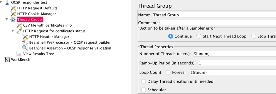 jmeter, add a thread group, ocsp checking