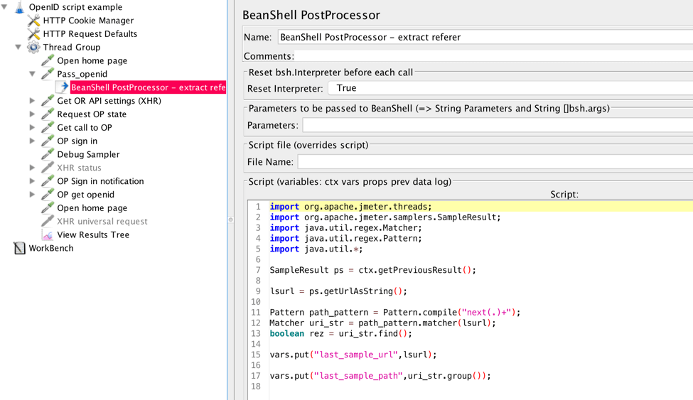 The BeanShell PostProcessor extracts callback URL and additional parameters. They are used further in the script.