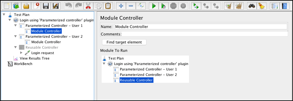 using jmeter's parameterized controller