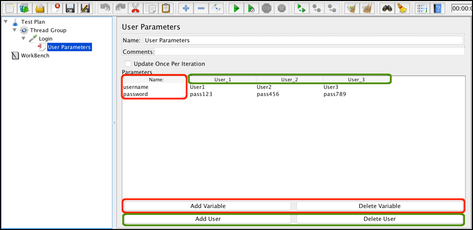 jmeter user parameters preprocessor
