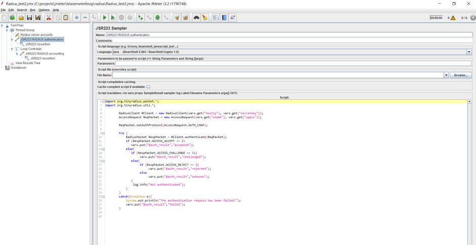 implementing radius protocol load testing in jmeter