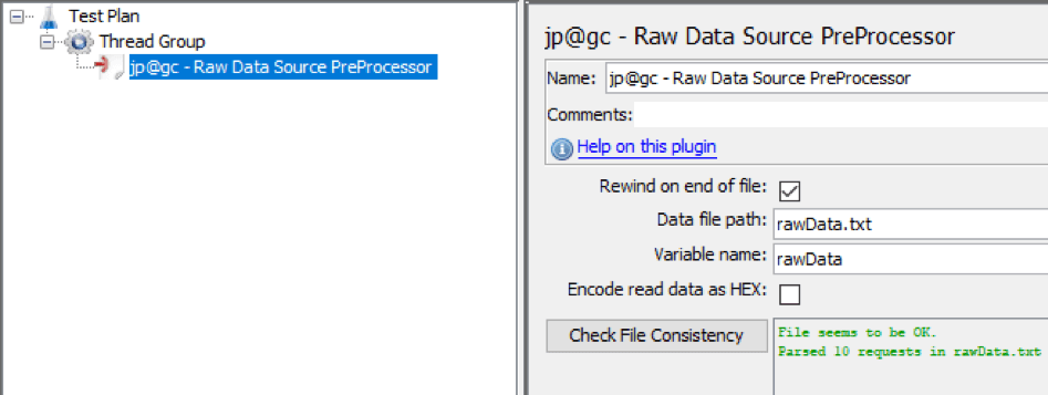 how to run the raw data preprocessor in jmeter