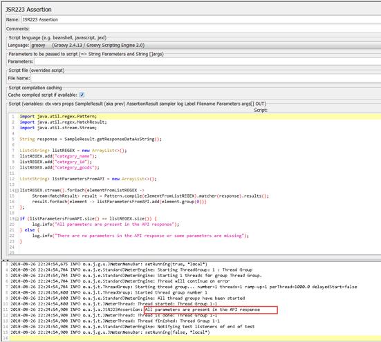 api response, regular expressions, groovy, jmeter