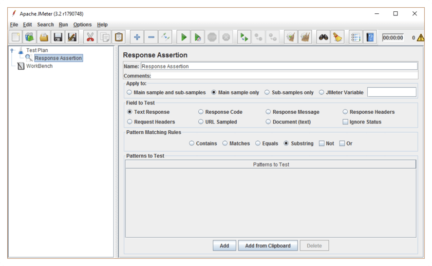 response assertions in jmeter 3.2, new interface