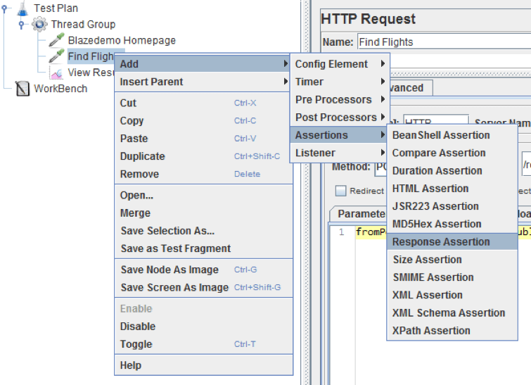 jmeter, add response assertion