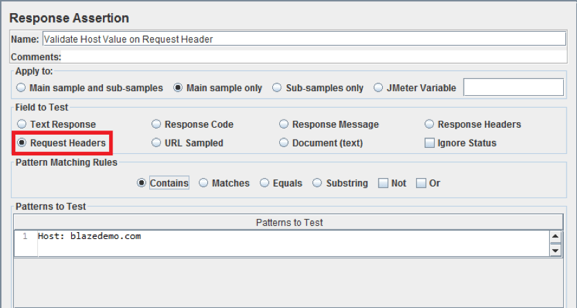jmeter response assertion, request headers