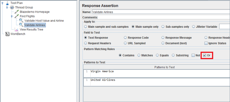jmeter response assertion, or option