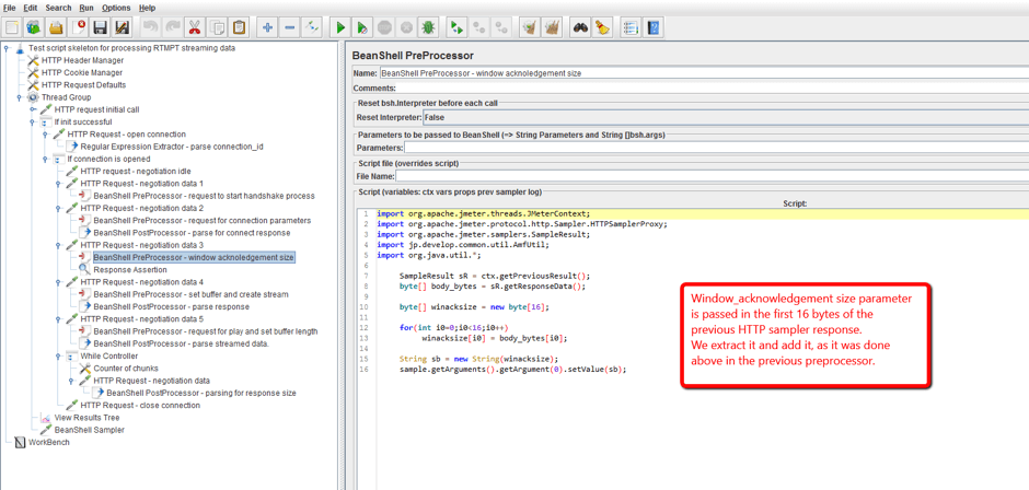 In JMeter, add a HTTP sampler for this 'send' command, as done for the previous ones, and set the sampler path field to /send/connection_id/3. The BeanShell preprocessor for this sampler is shown on the screenshot below: