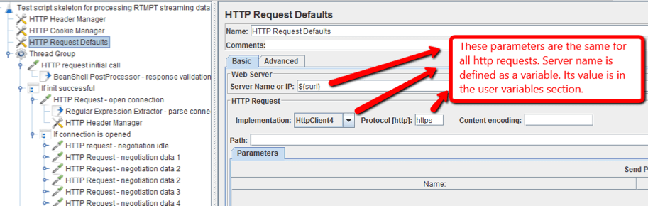 In JMeter, add a HTTP Request Defaults config element to the script and define parameters. These parameters should be the same for all HTTP requests: server name, implementation and protocol type.