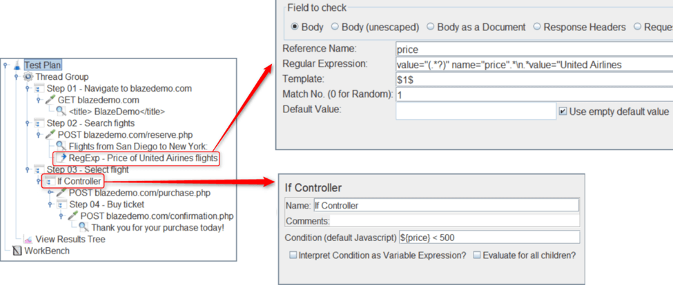 how to use selection statements with jmeter if controller
