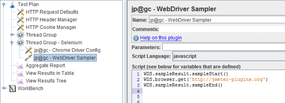 can you add a selenium webdriver script to jmeter?