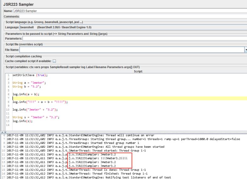 using strings in jmeter