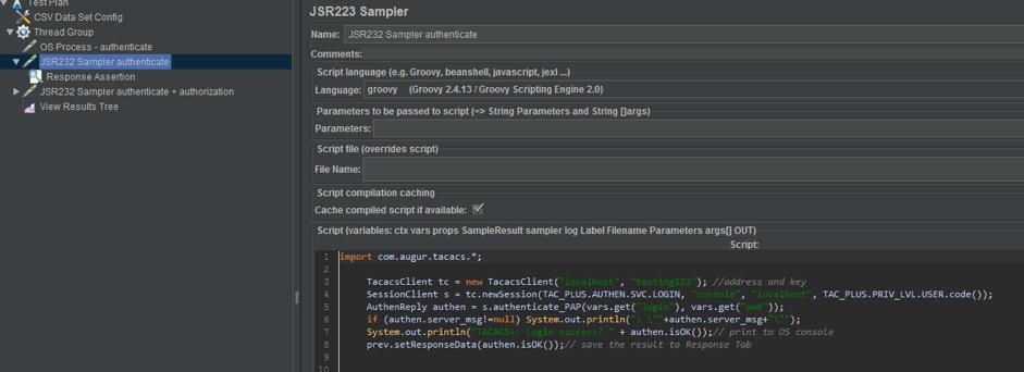 JMeter and TACAS+ load testing