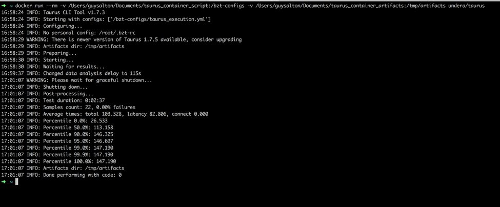 This command will run the script you places in your 'scripts' folder through Taurus. The logs will be copied into the artifacts directory you created.