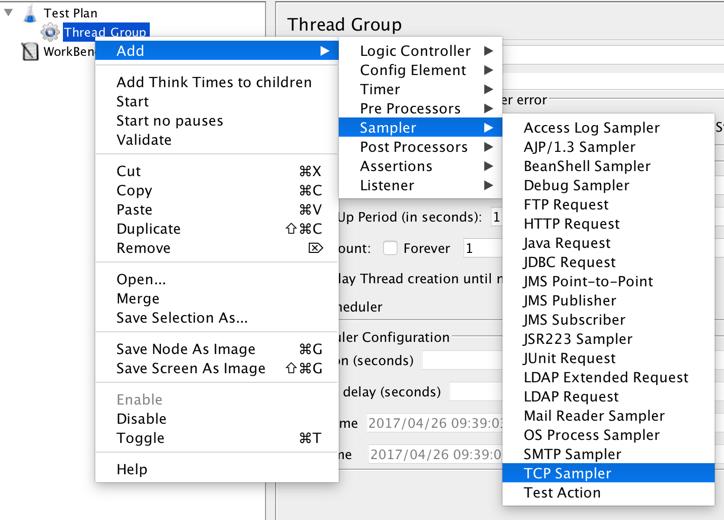 add the tcp sampler to jmeter