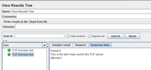 view results tree listener jmeter for tcp sampler