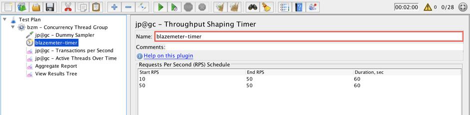 jmeter, schedule feedback function