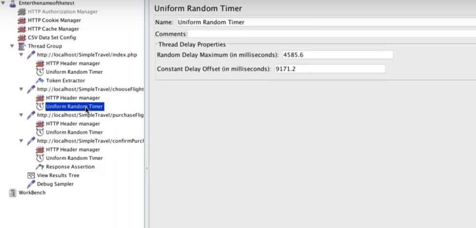 uniform random timer on jmeter