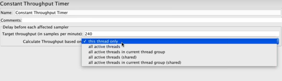 constant throughput timer threads configuration on jmeter