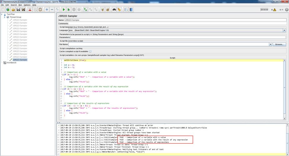 logical operators used on variables in jmeter scripts