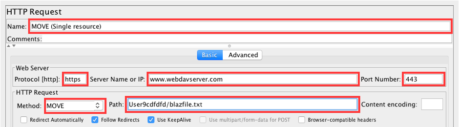 Uploading File to WebDAV Server, jmeter