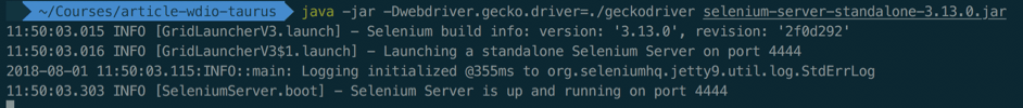 running webdriverio with taurus