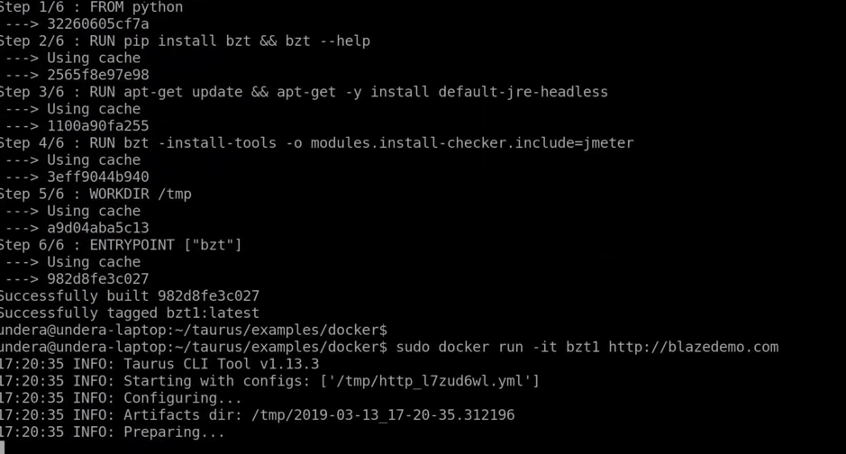 performance testing with blazemeter and docker
