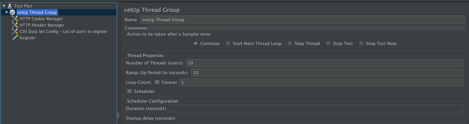 setting up jmeter thread group