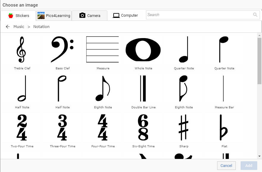 image of Wixie's music notation library