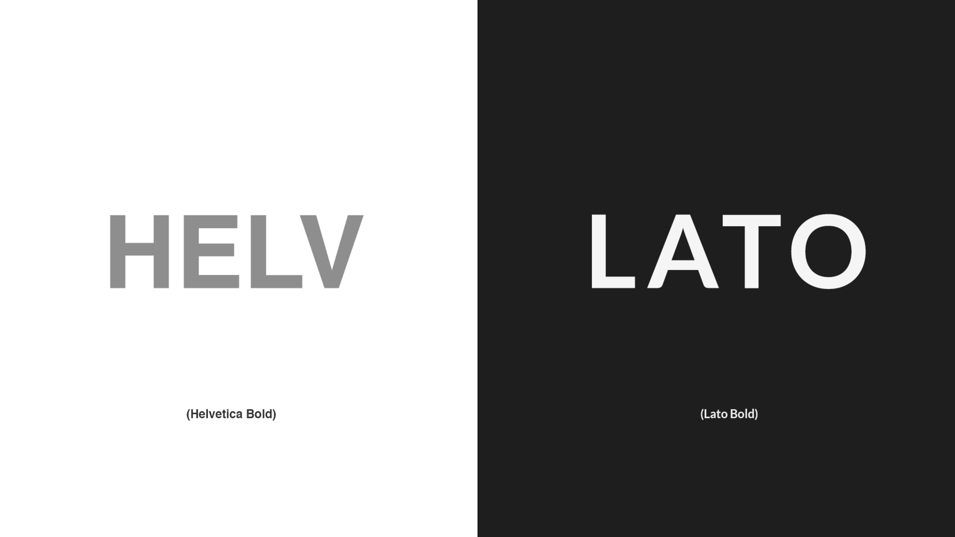 Helvetica font vs Lato font