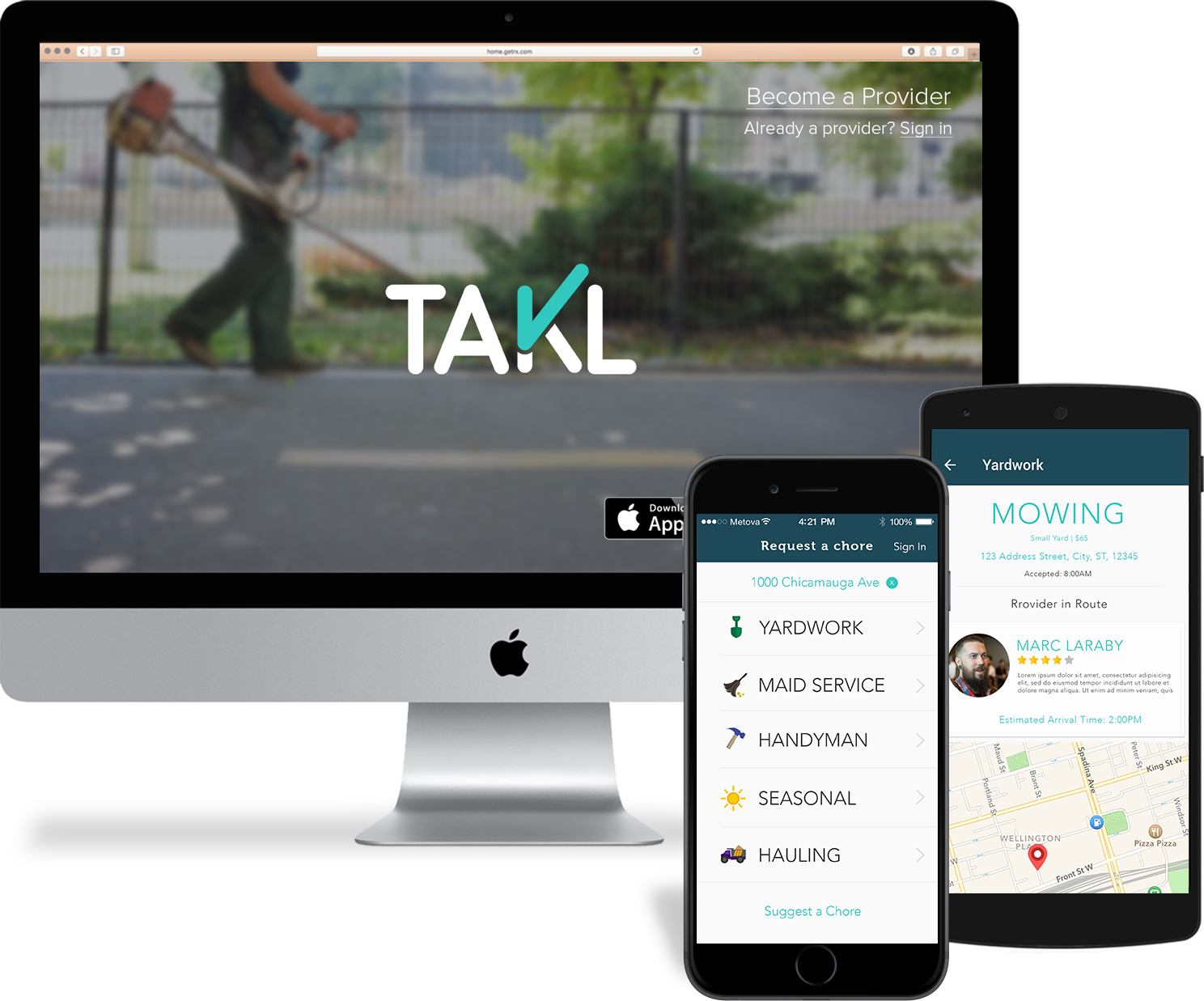 Takl website, ios app, and android app