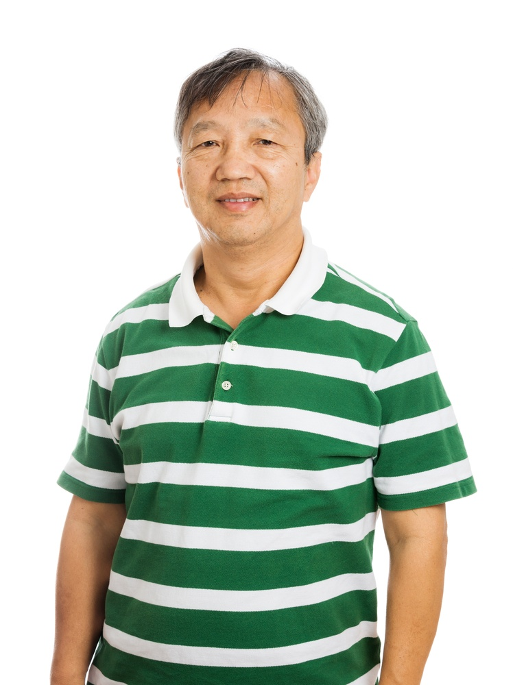 Senior asian man isolated on white