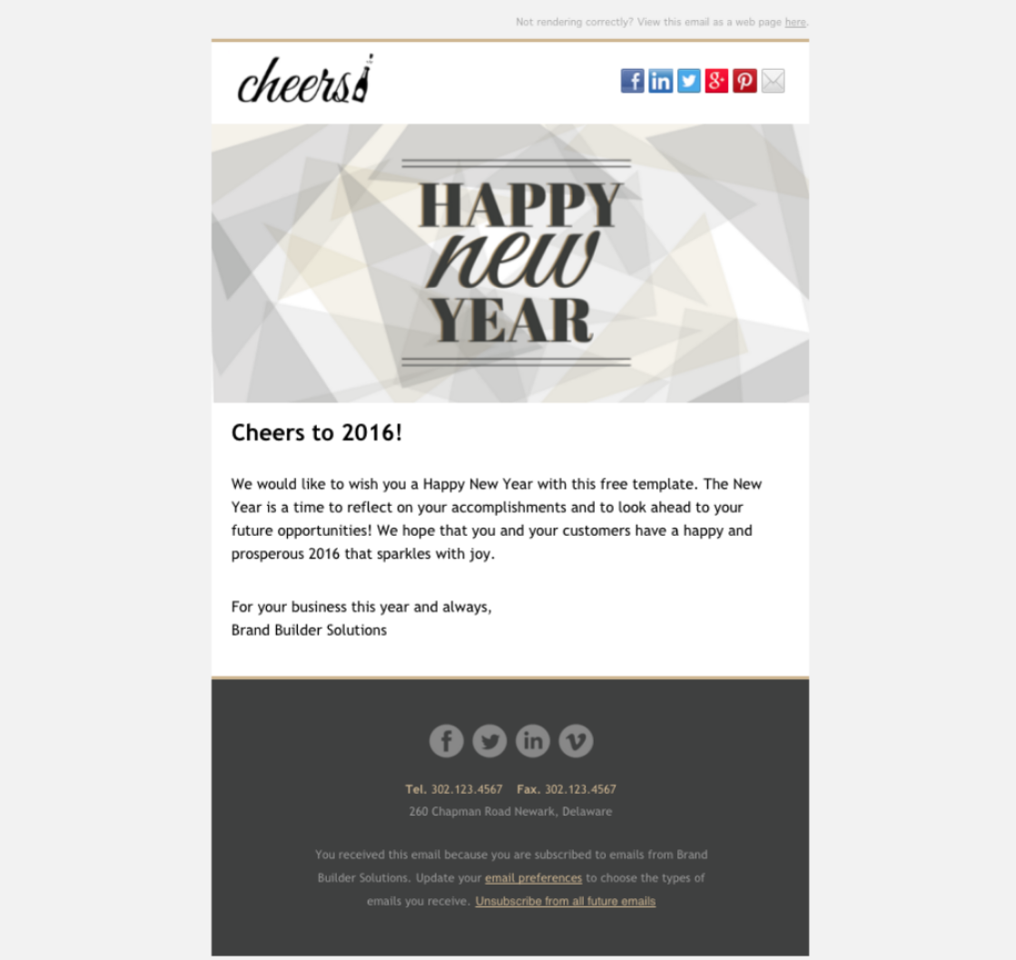 Cheers Happy New Year Email – New Year Email Template