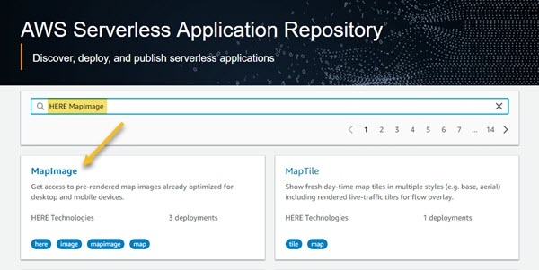 MapImage Serverless Application Search