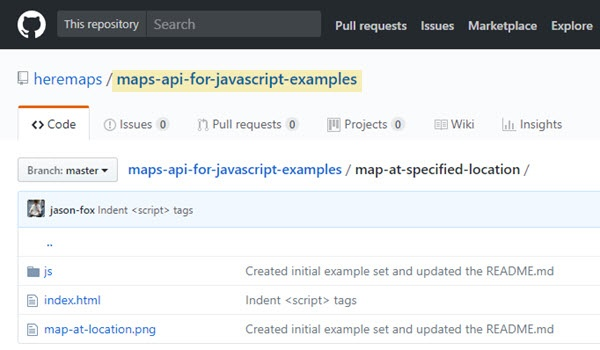 """Map at a specified location"" example shown in GitHub"