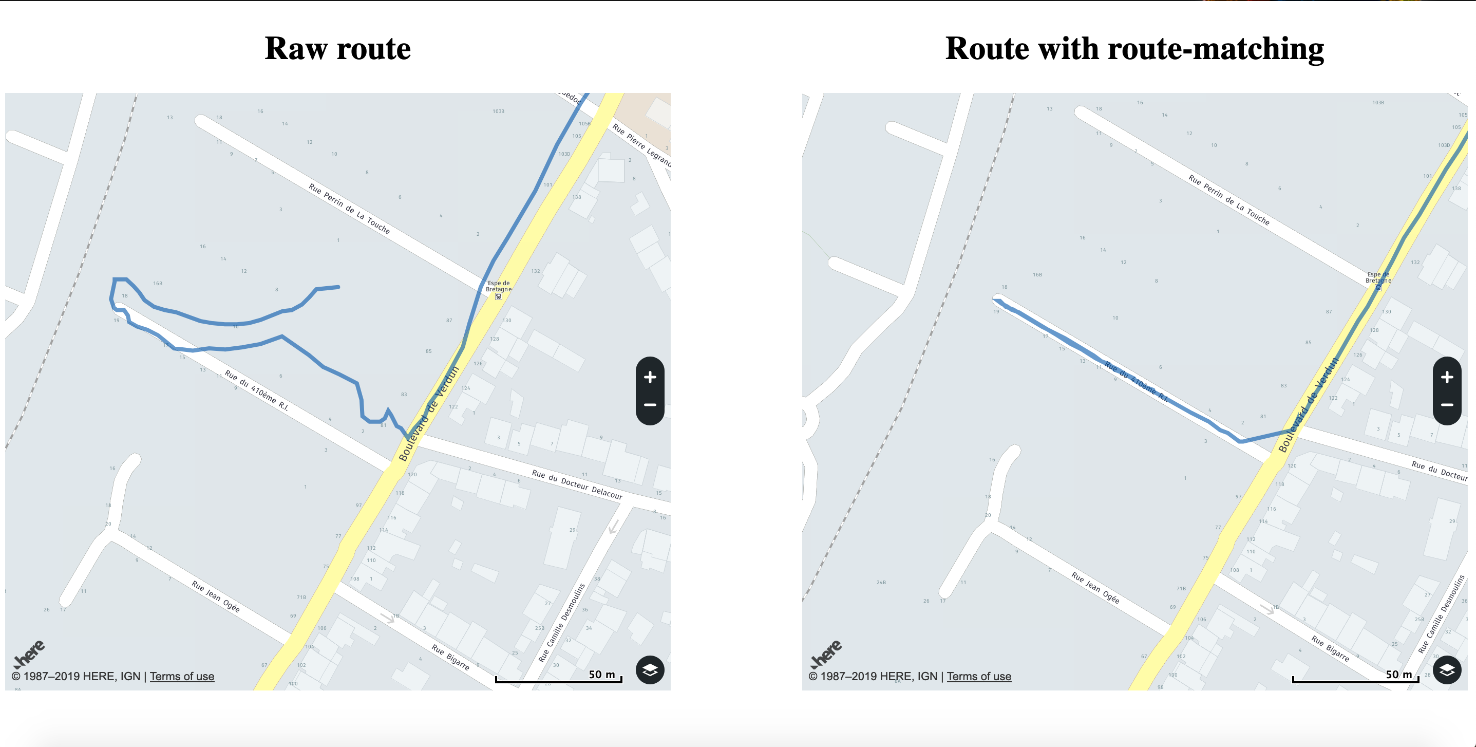 Comparison of raw route with the matched route