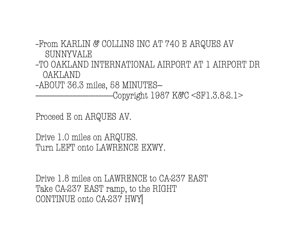 Printed Driving instructions