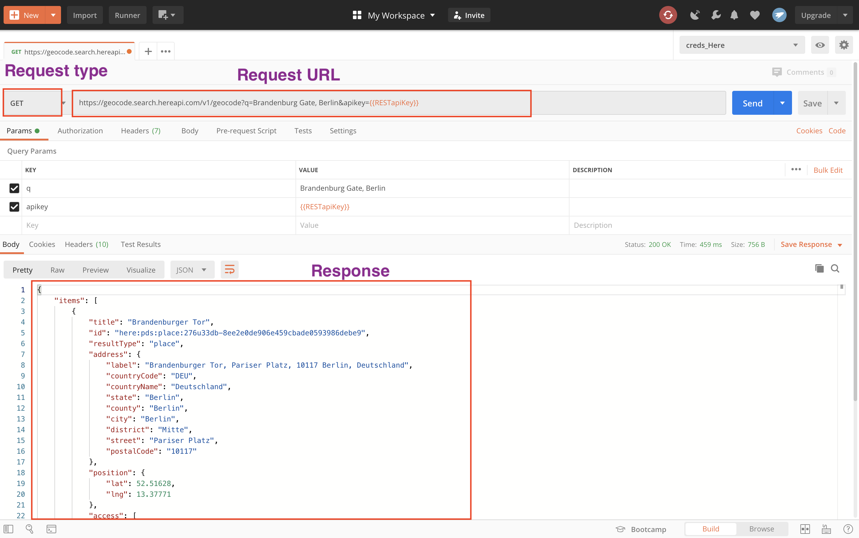 Postman witrndow with components