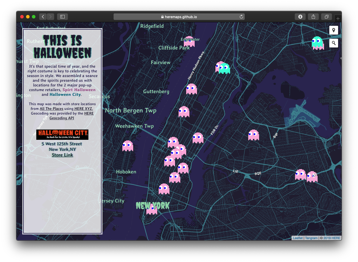 This is Halloween Map - HERE Technologies - Pop up Halloween Store Finder