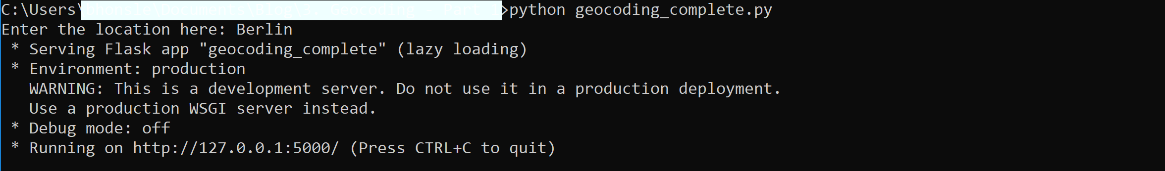 Running Python code on command prompt