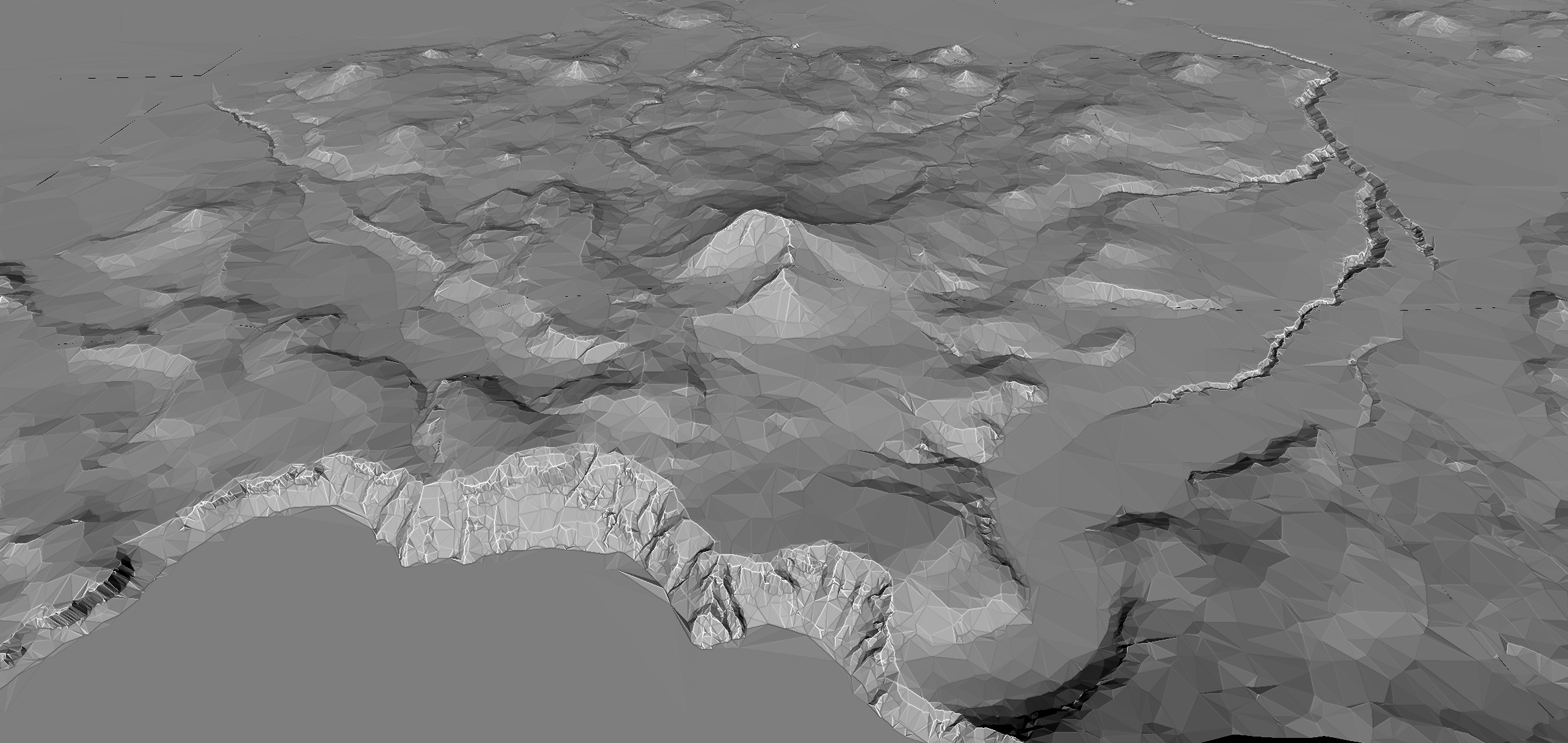 Crater Lake terrain rendered in 3D