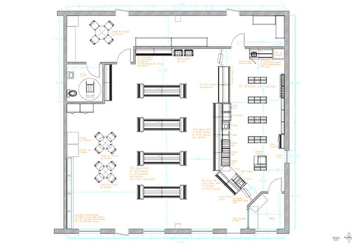 Design shelving design for Pharmacy floor plan