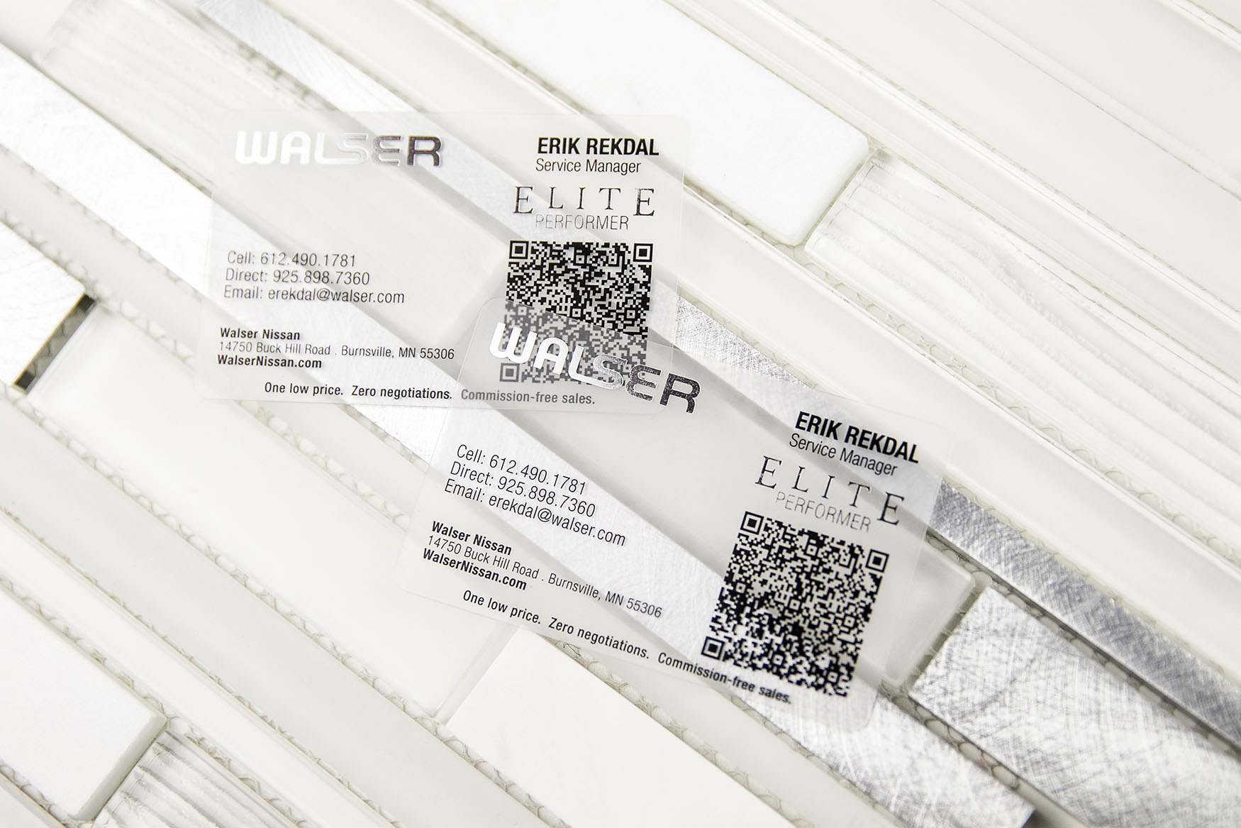 Walser Nissan Automotive Service Manager Frosted Business Card