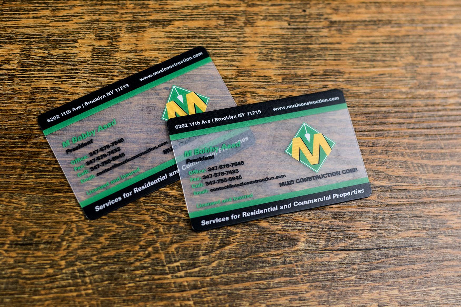 Muzi Construction Corp Business Cards