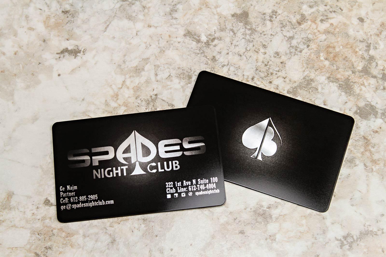 Spades Night Club Business Cards